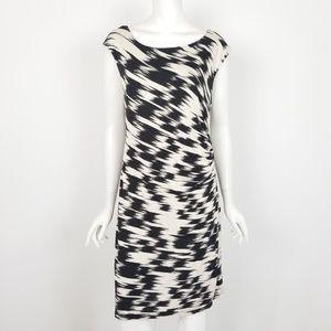 LOFT Black & White Sleeveless Ruched Midi Dress